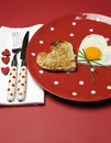 Free Love Theme Valentine Breakfast On Red Polka Dot Plate, Vertical Stock Photography - 29003622