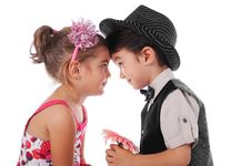 Boy And Girl With Flower Royalty Free Stock Images
