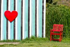 Free Red Heart And Lonely Chair Royalty Free Stock Images - 29002919