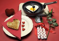 Free Valentine Breakfast With Heart Shape Egg And Toast With Love Hearts Royalty Free Stock Photo - 29003455