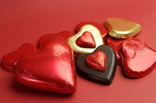 Free Love Them Red And Gold Wrapped Chocolates Royalty Free Stock Photo - 29004275