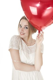 Free Beautiful Woman Holding Red Heart Balloon Over White Background. Stock Photo - 29006780
