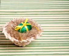 Free Green Easter Egg In A Straw Hat Stock Image - 29008791