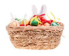 Toy Rabbit For A Basket With Easter Eggs Royalty Free Stock Image