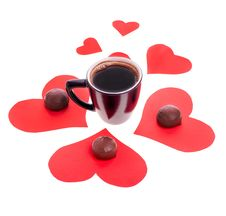 Free Chocolate Candy At The Heart Of Paper And Coffee Black Royalty Free Stock Photos - 29008798