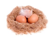 Free Three Yellow Balls With A Feather In The Nest Royalty Free Stock Photography - 29008807