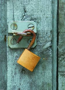 Free Green Door Brass Lock Stock Photo - 29008990