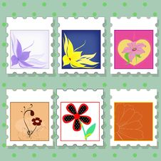 Free Postage Stamps With Flowers Stock Image - 29009461