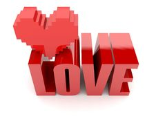 Free 3D Text Love And Heart. Stock Images - 29009694
