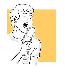 Guy Singing On Microphone Stock Photo