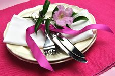 Pink Dinner Table Setting For Easter Or Special Occasion. Horizonal. Stock Photos