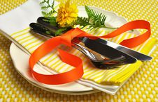 Free Yellow Theme Formal Dinner Table Setting. Royalty Free Stock Image - 29016026