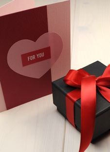 Love Theme Gift Card, For You, With Black Box Gift, Vertical. Stock Images