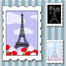 Free Postage Stamps With Paris Royalty Free Stock Photos - 29019598