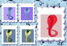 Free Posrage Stamps With Cobras Royalty Free Stock Photos - 29019968