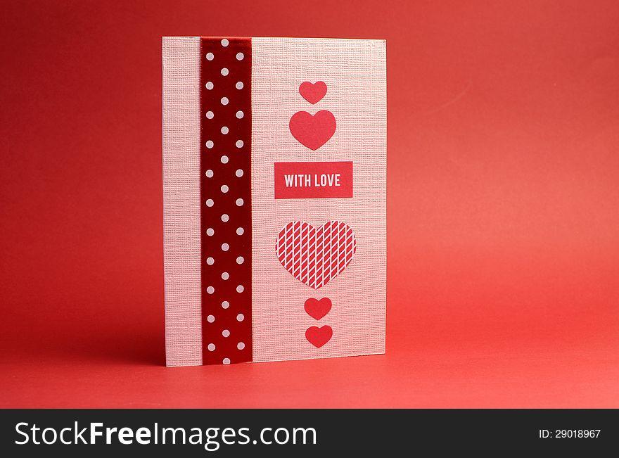 Love theme handmade gift card