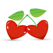 Free Two Red Cherries In A Heart Shape Royalty Free Stock Images - 29025529