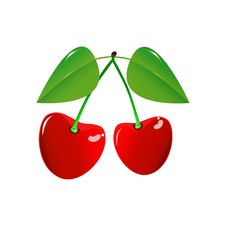 Free Two Cherry On A White Background Stock Photo - 29025530