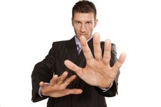 Business Man With Stop Hands Up Stock Photos