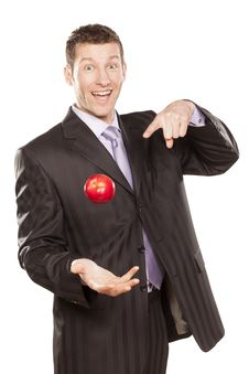 Free Businessman Tossing Apple Royalty Free Stock Photos - 29032538