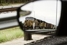Free Train In Car Side Mirror Royalty Free Stock Images - 29036069
