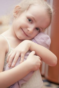 Free Portrait Of Happy Little Girl Holding Toy Royalty Free Stock Photos - 29039538
