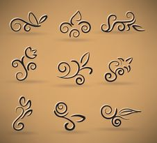 Free Floral Icons Set Royalty Free Stock Image - 29044526
