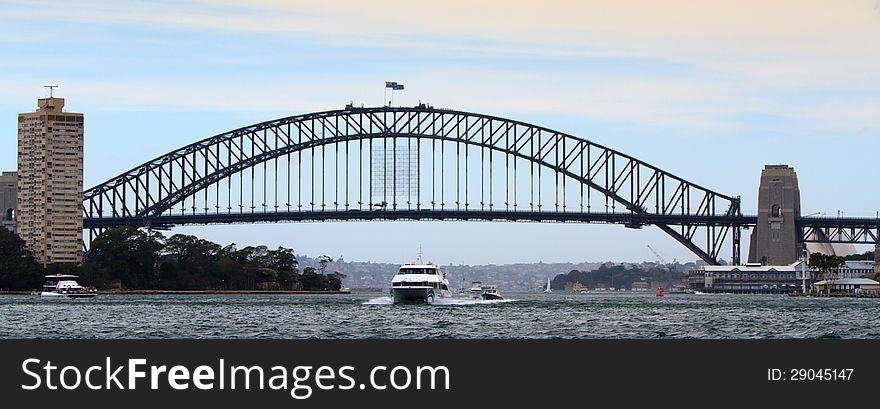 Boats under harbour bridge