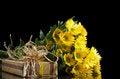 Free Yellow Chrysanthemums And Gift Box Royalty Free Stock Image - 29051416