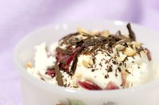 Dessert With Cream, Chocolate Nuts And Jam Stock Photography
