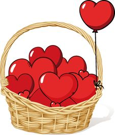 Free Basket Full Of Love - Hearts Stock Photos - 29053203