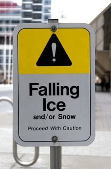 Free Falling Ice Warning Sign Stock Image - 29057521