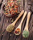 Free Variety Of Spices In The Spoons. Royalty Free Stock Photography - 29065677