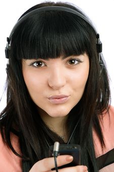 Free Young Woman With Headphones Listen Music, Isolated On Royalty Free Stock Photos - 29063888
