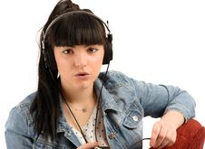 Young Woman With Headphones Listen Music, Isolated On Royalty Free Stock Image