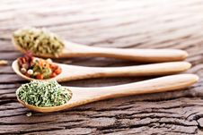 Free Variety Of Spices In The Spoons. Royalty Free Stock Photography - 29065367