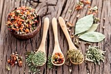 Free Variety Of Spices In The Spoons. Royalty Free Stock Photo - 29065665
