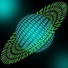 Free Planet Model And Binary Code Stock Photos - 29065753