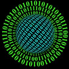 Free Planet Model And Binary Code Stock Photos - 29065773