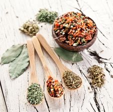 Free Variety Of Spices In The Spoons. Royalty Free Stock Photography - 29065927
