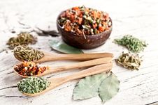 Free Variety Of Spices In The Spoons. Royalty Free Stock Images - 29065979