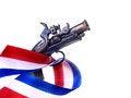 Free Red White & Blue Ribbon & Gun Royalty Free Stock Photography - 29077417