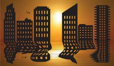Free Cityscape Reflected Royalty Free Stock Image - 29077026