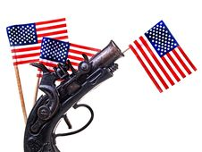 Free Red White & Blue Ribbon & Gun Stock Image - 29077401