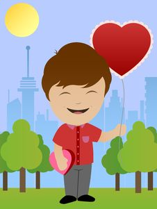 Free Boy With Heart Shaped Balloon Royalty Free Stock Image - 29078386