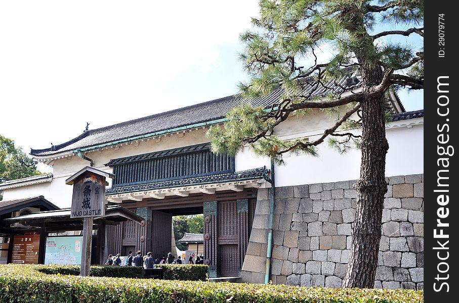 Tourist visiting Nijo Castle in Kyoto.