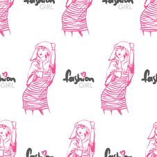 Free Vector Seamless Texture With Fashion Girls. Stock Images - 29083364