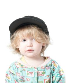 A Child In A Cap. Royalty Free Stock Photo