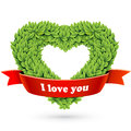 Free Heart Of Leaves With Red Ribbon And Text Royalty Free Stock Photography - 29096167