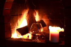 Free Fireplace Wine Stock Images - 29093084